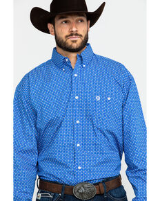 George Strait by Wrangler Men's Royal Blue Geo Print Long Sleeve Western Shirt , Blue, hi-res