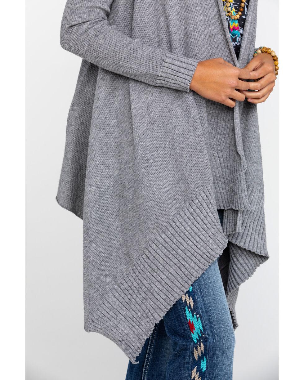 Elan Women's Drape Front Ribbed Cardigan , Grey, hi-res