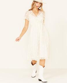 Beyond The Radar Women's Ivory Lace Surplice Dress, Ivory, hi-res