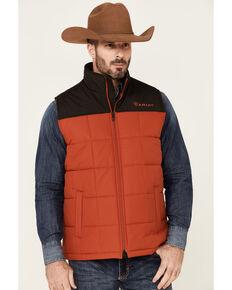 Ariat Men's Orange Color Block CC Crius Zip-Front Vest , Orange, hi-res