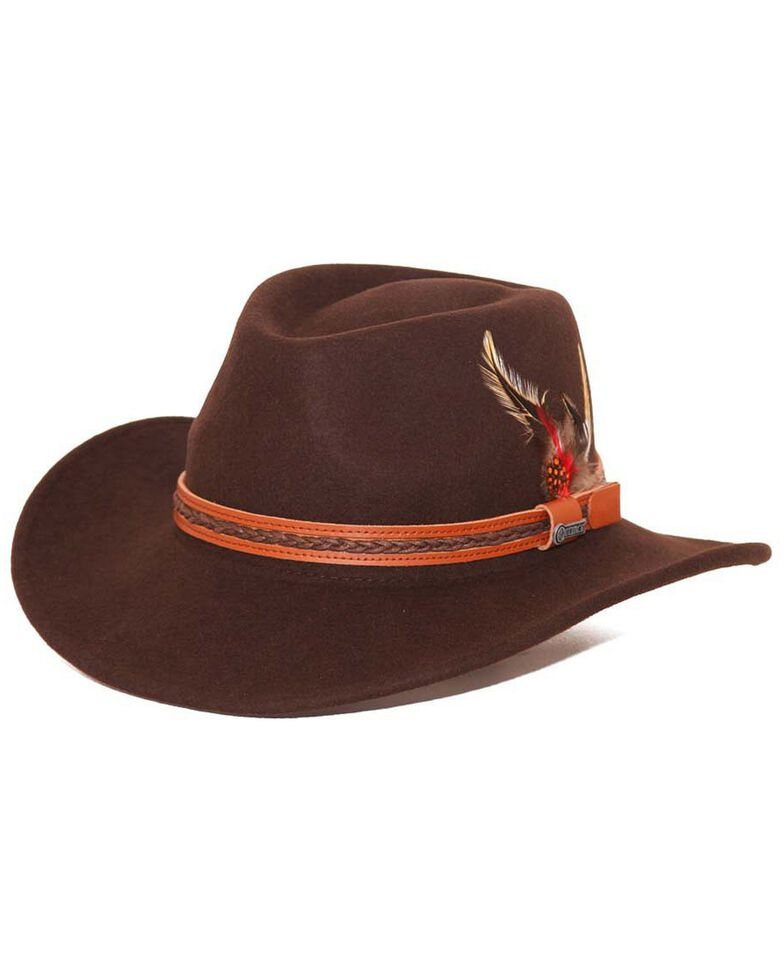 Outback Trading Co. Men's High Country Crushable Wool Hat, Chocolate, hi-res