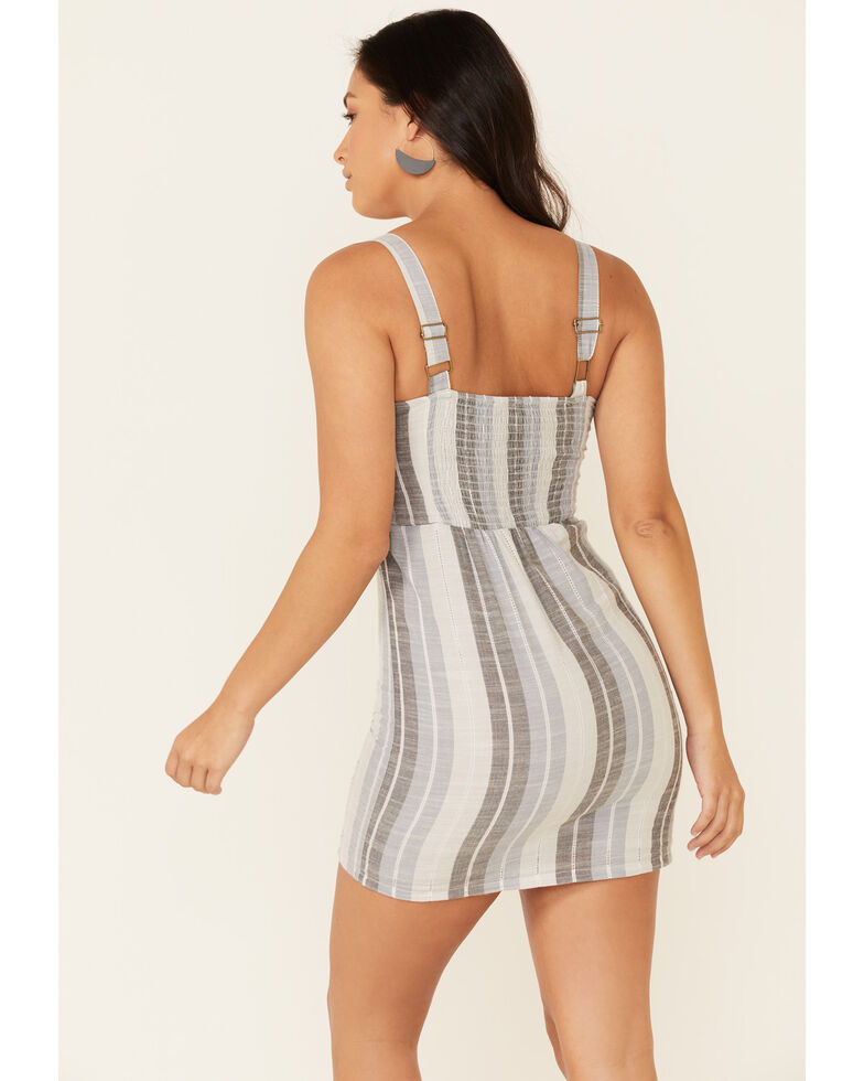 Rock & Roll Cowgirl Women's Grey Striped Dress, Grey, hi-res