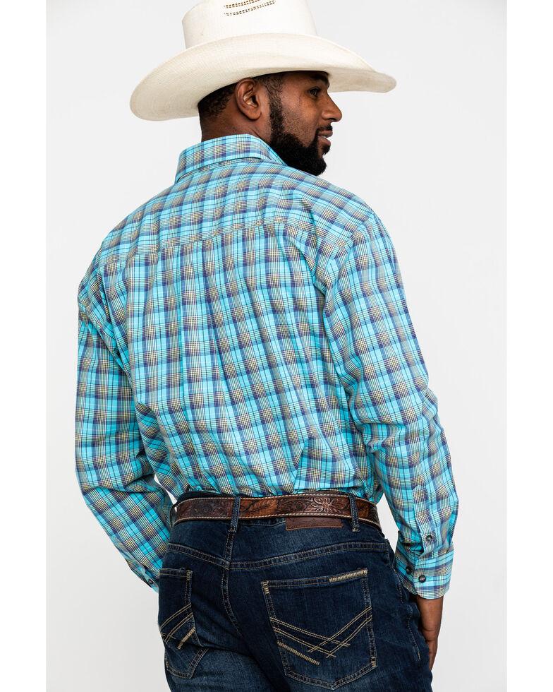 George Strait by Wrangler Men's Light Turquoise Plaid Long Sleeve Western Shirt - Big , Turquoise, hi-res