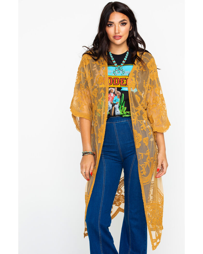 Polagram Women's Mustard Lace Long Kimono , Dark Yellow, hi-res