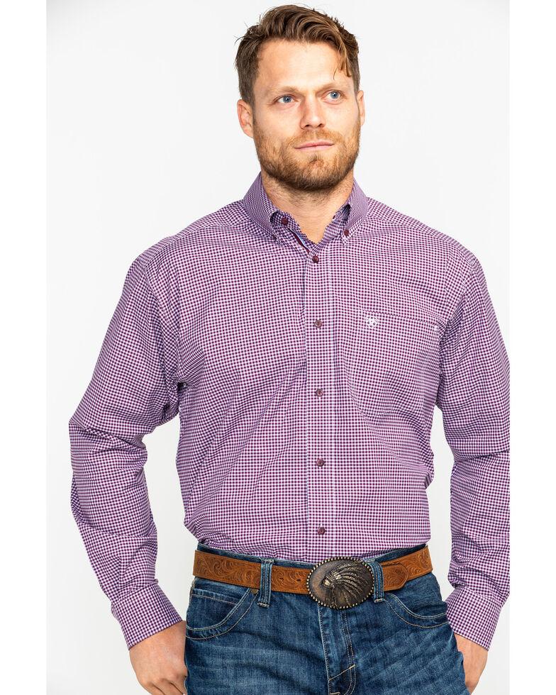 Ariat Men's Doug Stretch Performance Print Long Sleeve Western Shirt , Purple, hi-res