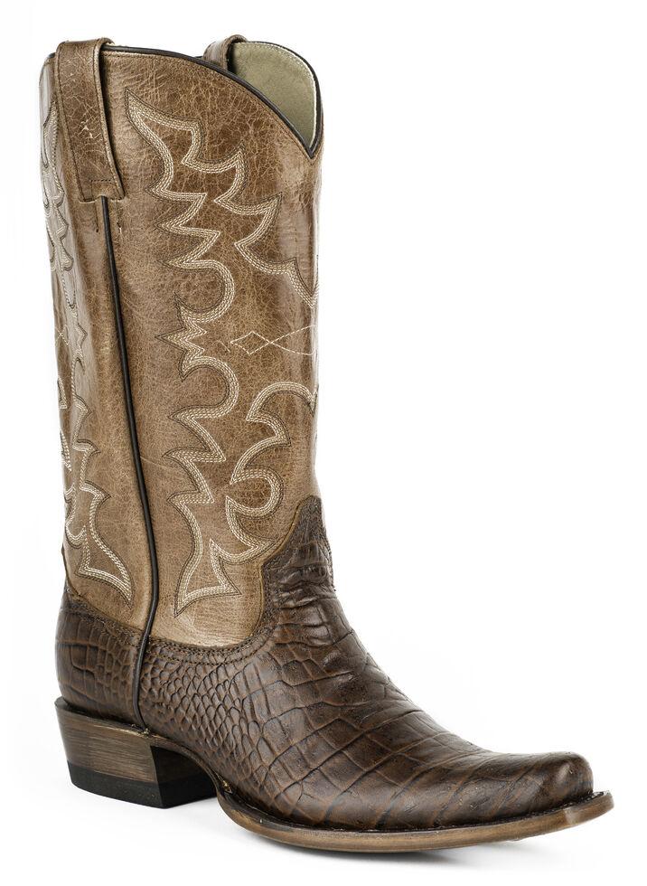 Roper Men's Croc Print Cowboy Boots - Wide Square Toe, Brown, hi-res