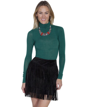 Scully Women's Suede Fringe Skirt, Black, hi-res