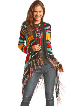 Rock & Roll Cowgirl Women's Fringed Serape Cardigan, Multi, hi-res
