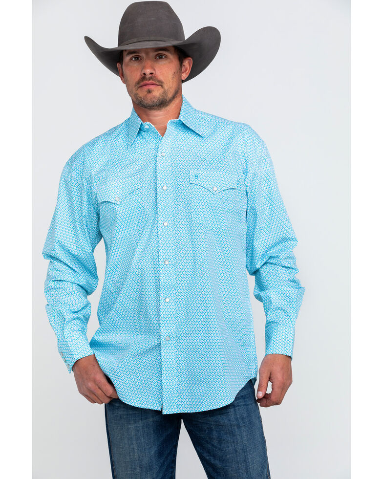 Stetson Men's Small Floral Print Long Sleeve Western Shirt , Blue, hi-res
