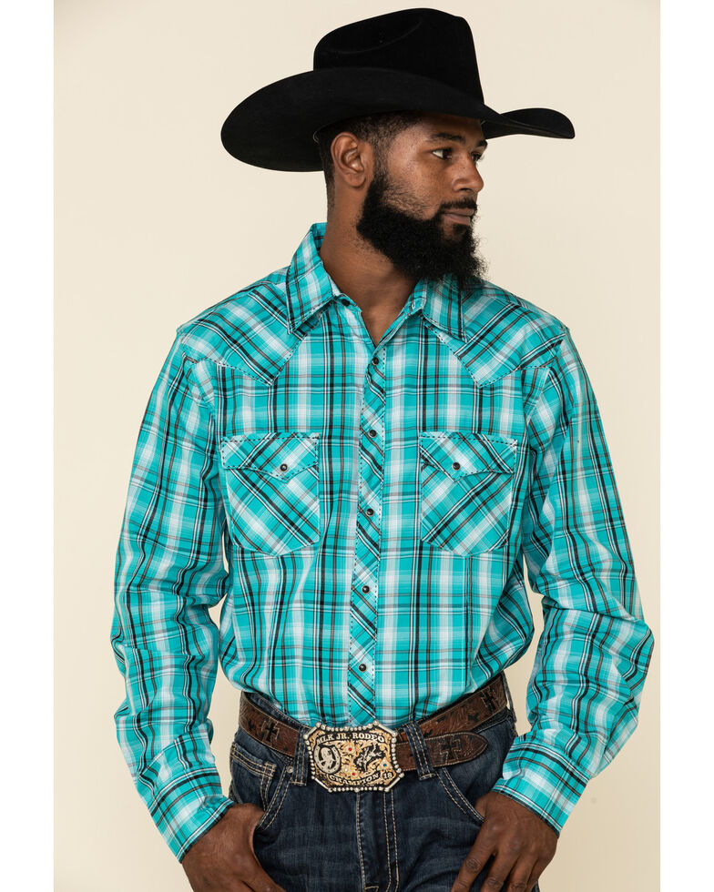 Wrangler Men's Fashion Snap Med Turquoise Plaid Long Sleeve Western Shirt , Turquoise, hi-res