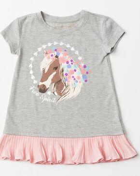 Shyanne Toddler Girls' Ruffle Screen Knit Short Sleeve Tee , Grey, hi-res