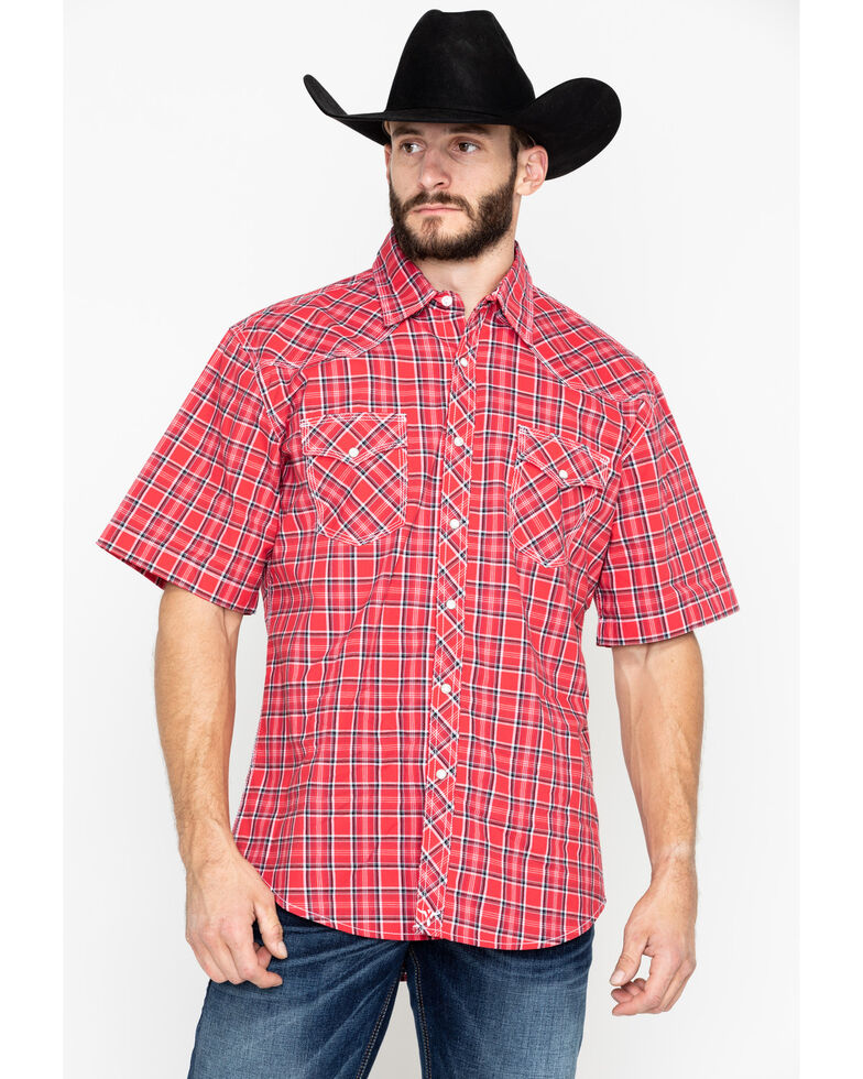 Wrangler 20X Men's Red Competition Advanced Short Sleeve Western Shirt - Big & Tall, Black/red, hi-res