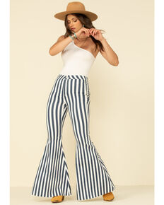 Free People Women's Navy Striped Just Float On Flares, Navy, hi-res