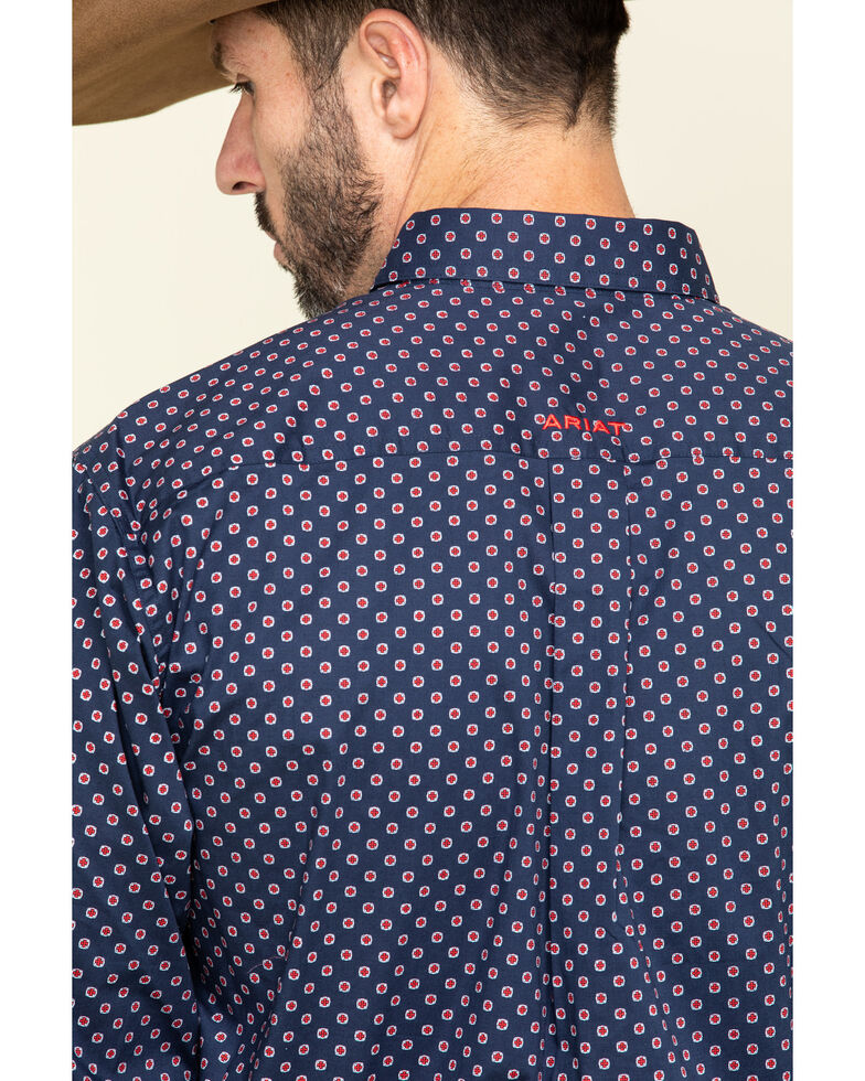 Ariat Men's Venton Fitted Geo Print Long Sleeve Western Shirt , Navy, hi-res