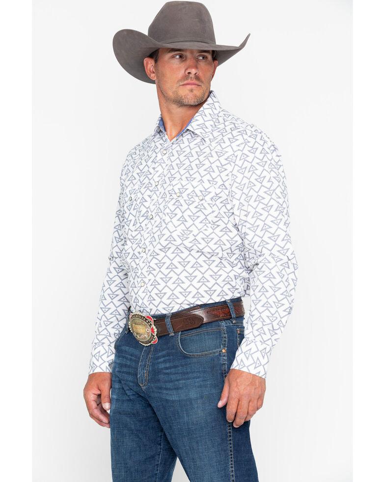 Rock & Roll Cowboy Men's Triangle Geo Print Long Sleeve Western Shirt , Grey, hi-res