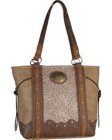 Justin Women's Tan Lace Inlay Conceal Carry Tote Bag , Tan, hi-res