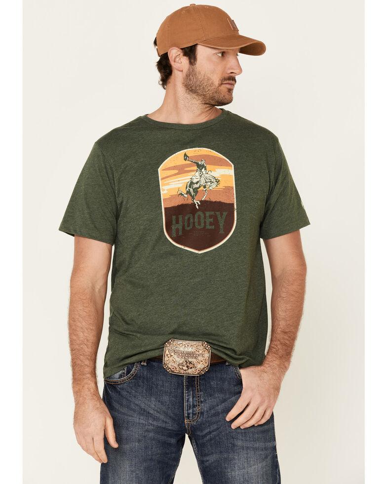 HOOey Men's Olive Cheyenne Logo Short Sleeve T-Shirt , Green, hi-res