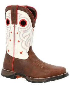 Durango Women's Maverick Waterproof Western Work Boots - Steel Toe, Brown, hi-res