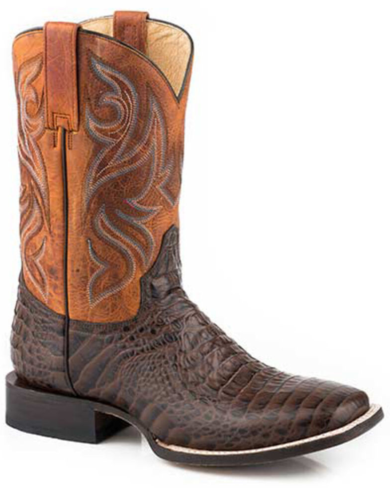 Roper Men's Embossed Caiman Western Boots - Square Toe, Brown, hi-res