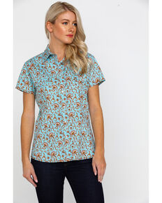 Rough Stock By Panhandle Women's Glavez Print Short Sleeve Western Shirt , Blue, hi-res