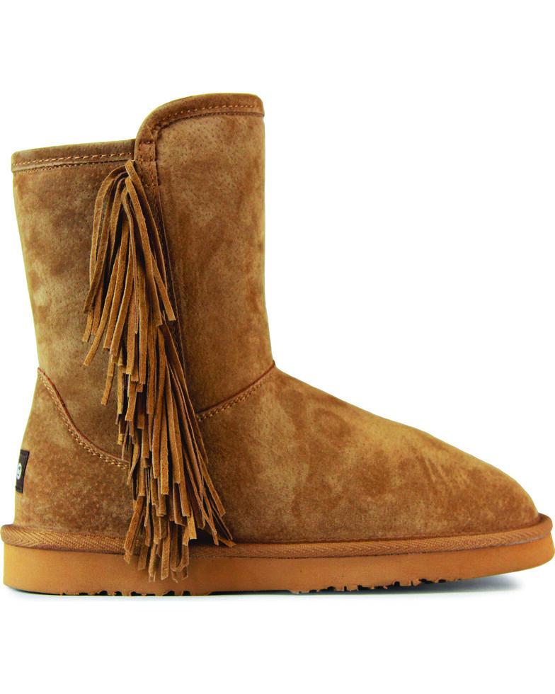 Lamo Women's Sellas Short Fringe Winter Boots - Round Toe, Chestnut, hi-res