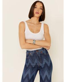 Wrangler Women's Chevron Print Flare Jeans, Blue, hi-res