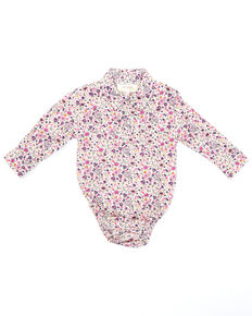 Shyanne Infant Girls' Pink Ditsy Floral Print Long Sleeve Snap Onesie , Fuscia, hi-res