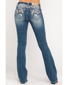 Miss Me Women's Medium Low Rise Aztec Embroidered Chloe Boot Cut Jeans , Blue, hi-res