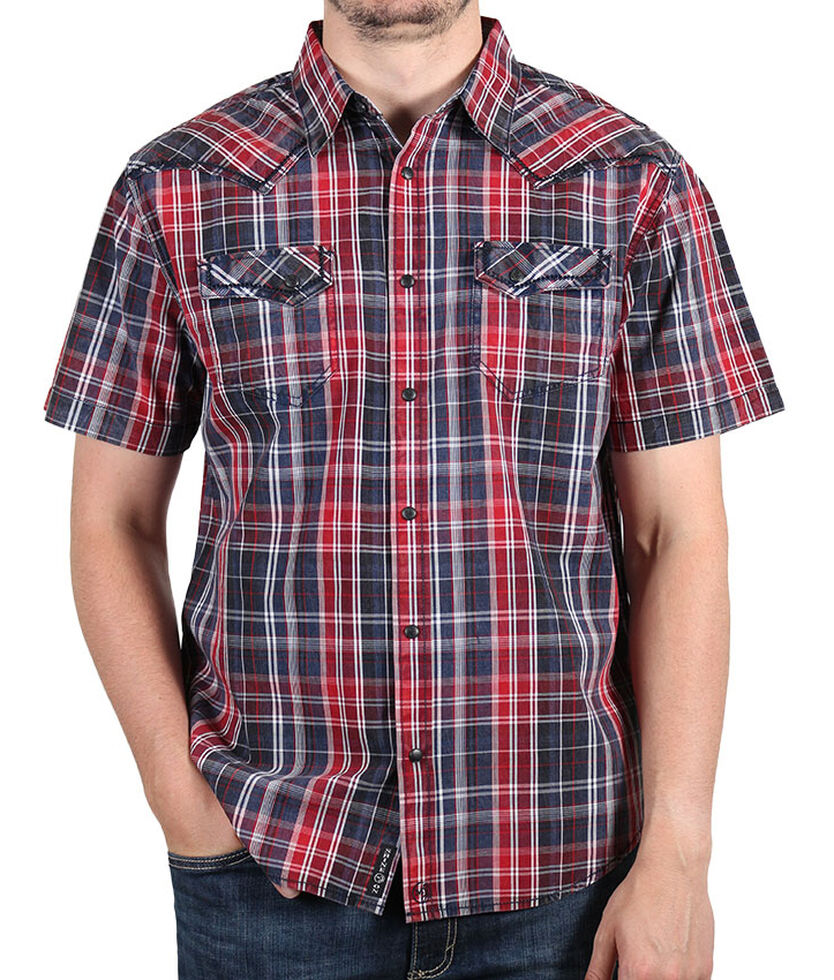 Moonshine Spirit Men's Late Night Plaid Short Sleeve Western Shirt, Navy, hi-res