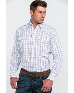 Ely Cattleman Men's White Large Plaid Long Sleeve Western Shirt - Tall , White, hi-res