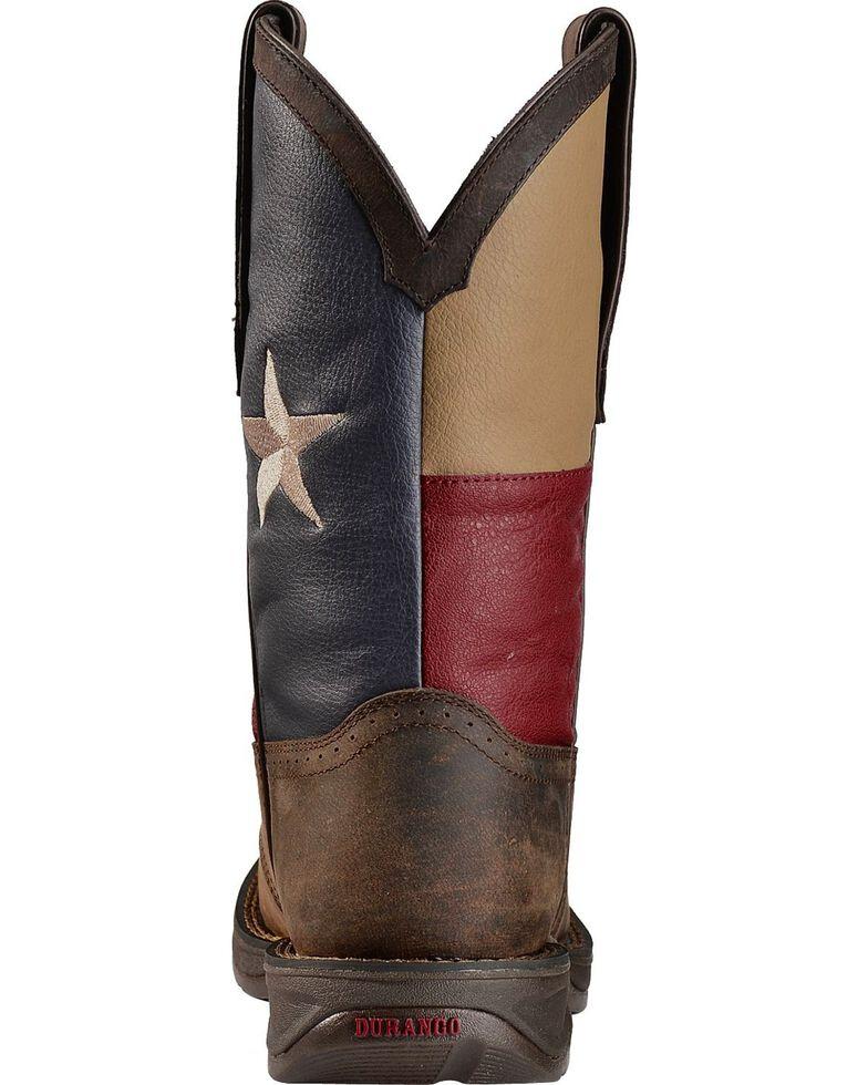 Durango Rebel Men's Texas Flag Western Boots - Steel Toe, Brown, hi-res