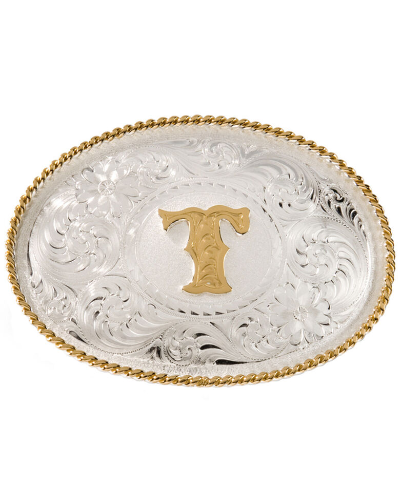 "Montana Silversmiths Initial ""T"" Buckle, Silver, hi-res"