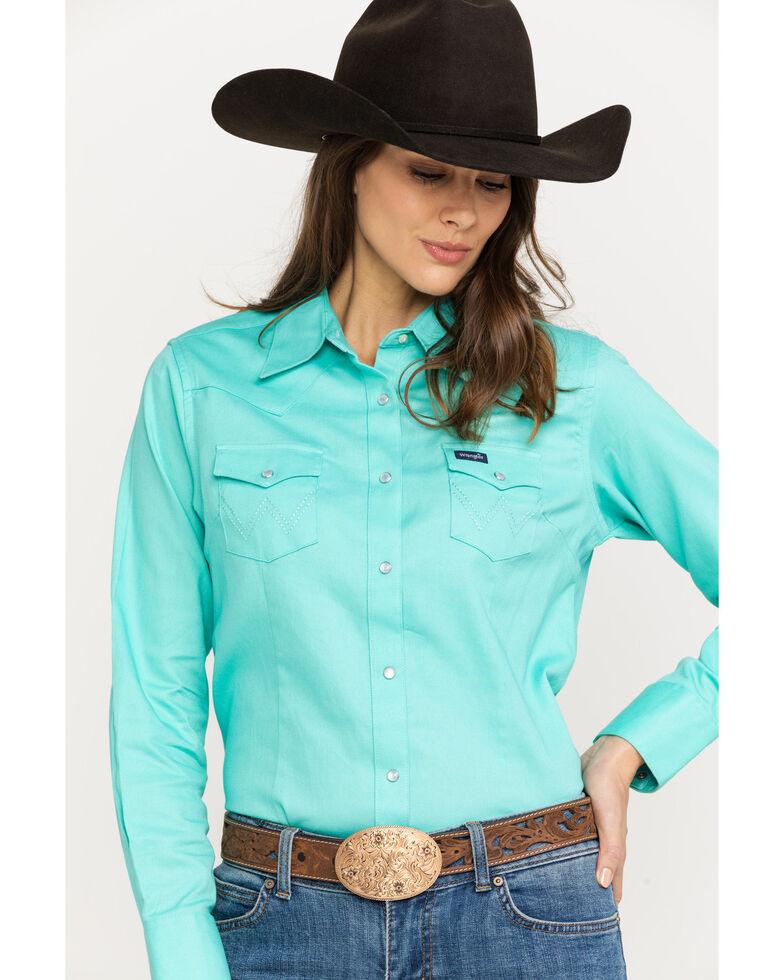 Wrangler Women's Turquoise Long Sleeve Western Shirt, Turquoise, hi-res