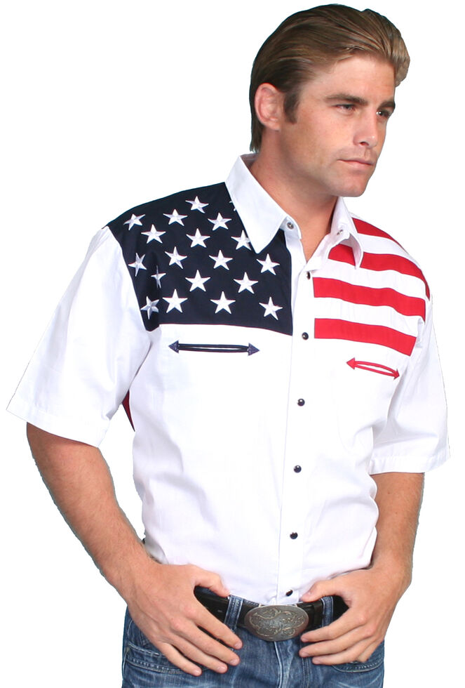 0f17a677 Zoomed Image Scully American Flag Colorblock Western Shirt - Big & Tall,  White, hi-res