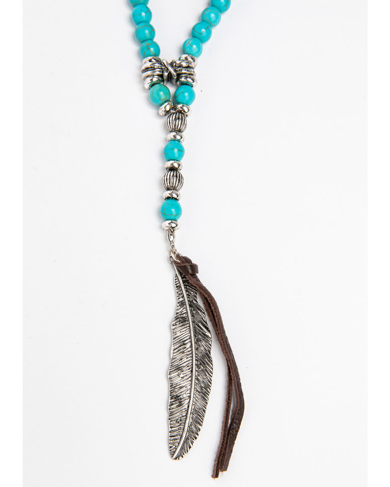 Shyanne Women's Blue Falls Turquoise Layered Choker With Feather Charm Necklace, Silver, hi-res