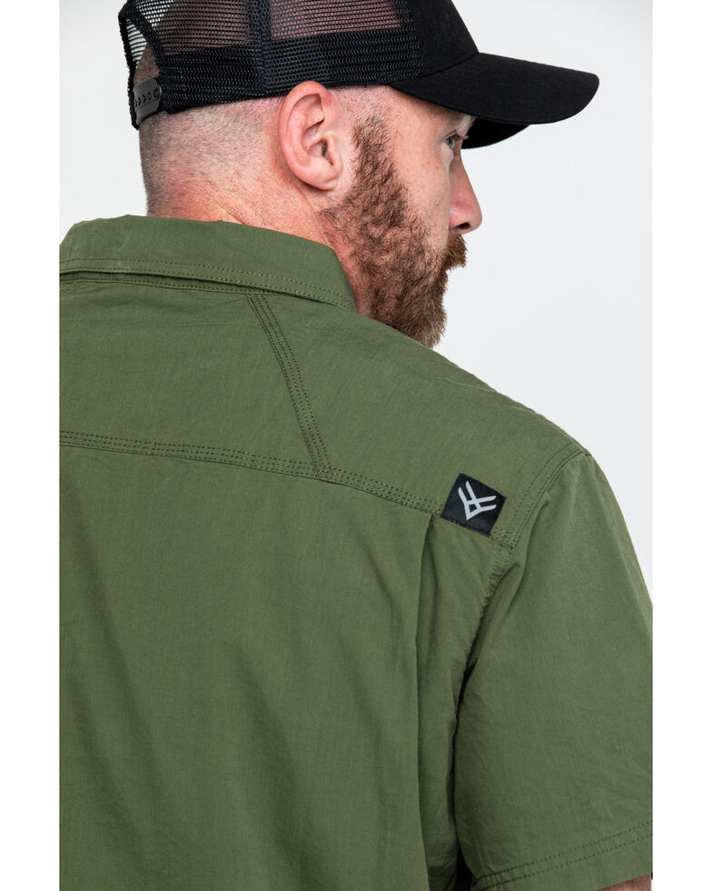 Hawx® Men's Solid Yarn Dye Two Pocket Short Sleeve Work Shirt , Moss Green, hi-res