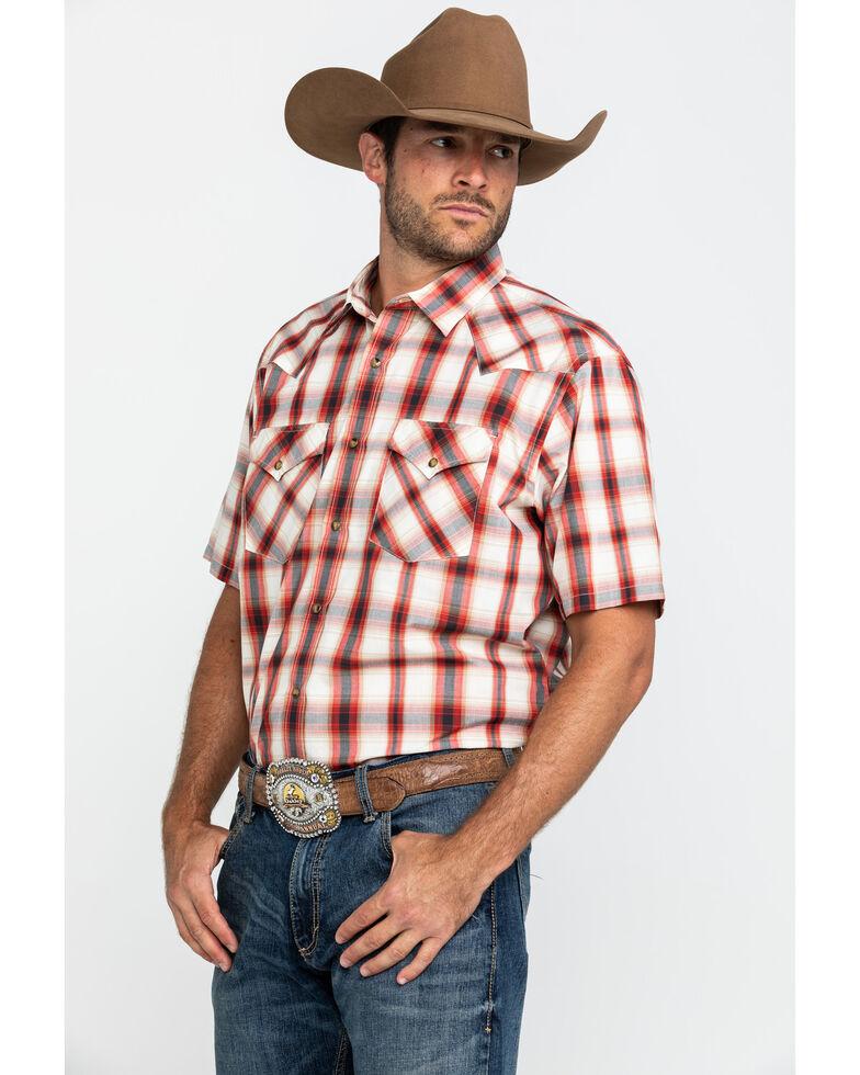 Pendleton Men's Red Frontier Plaid Short Sleeve Western Shirt , Red, hi-res