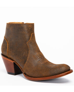 Shyanne Women's Madison Side Zipper Booties - Round Toe, Brown, hi-res