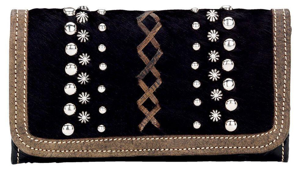 American West Annie's Secret Black Tri-Fold Wallet, Black, hi-res