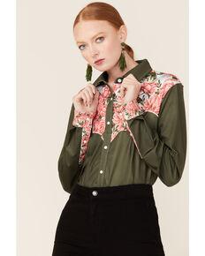 Ranch Dress'n Women's First Date Floral Yoke Long Sleeve Western Shirt, Green, hi-res