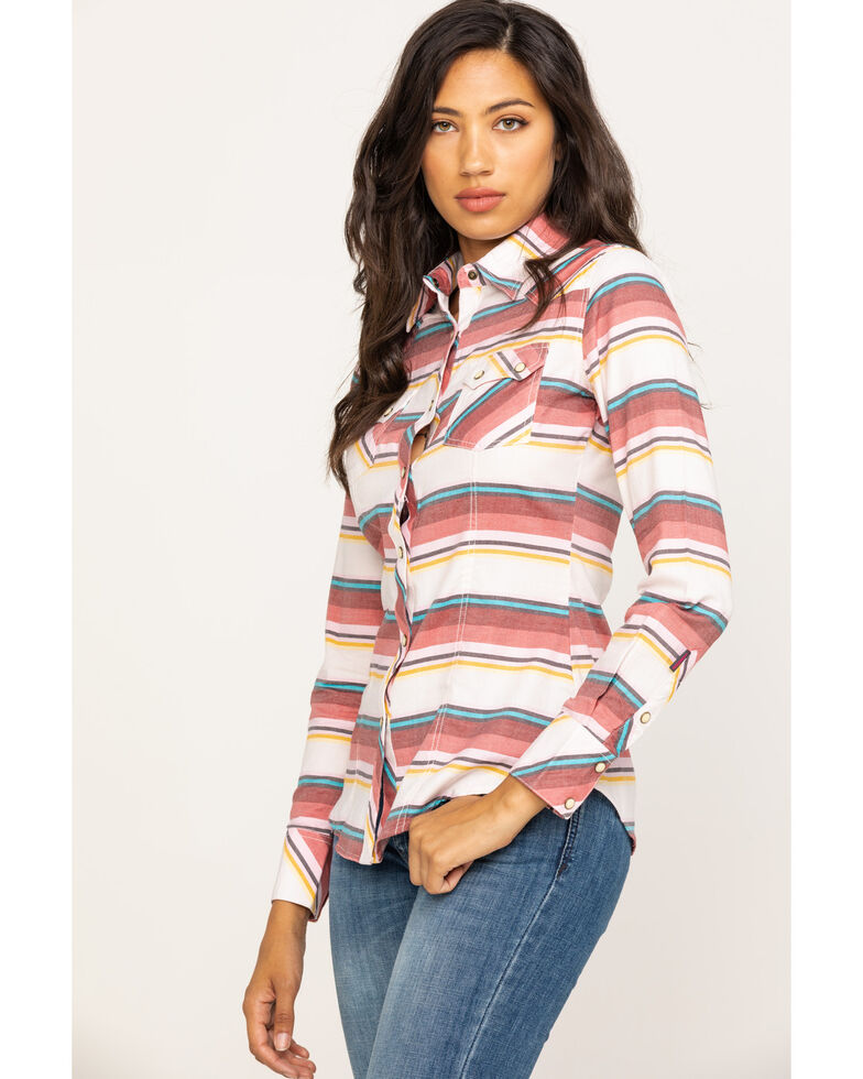 Rock & Roll Cowgirl Women's Coral Stripe Long Sleeve Western Shirt, Coral, hi-res