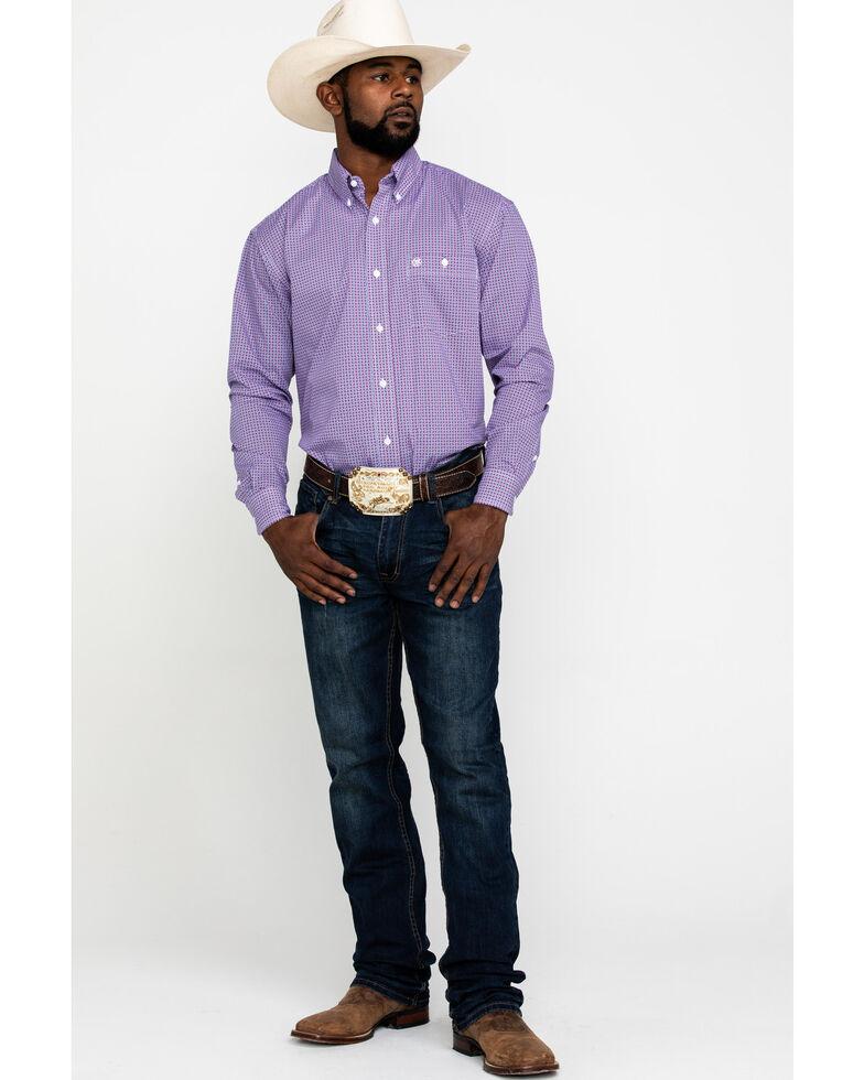 Wrangler Men's Classic Purple Geo Print Long Sleeve Western Shirt , Purple, hi-res