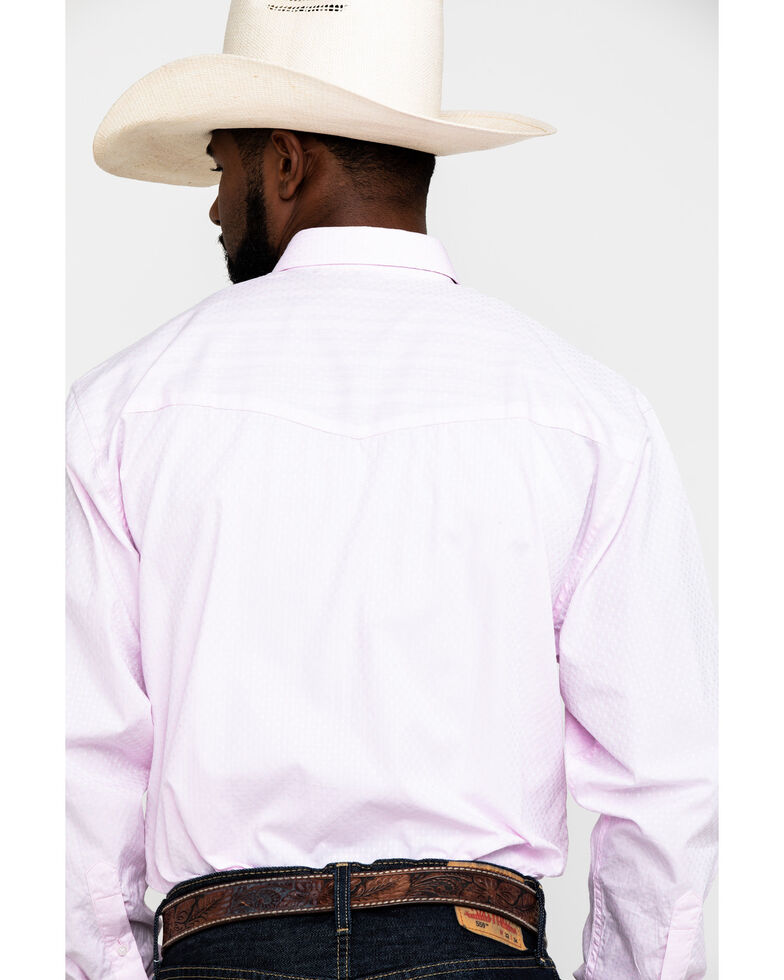 Resistol Men's Pink Casselberry Textured Solid Long Sleeve Western Shirt , Pink, hi-res