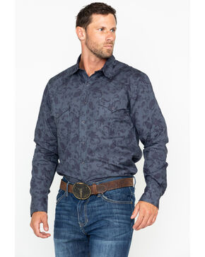 Roper Men's Black Floral Print Long Sleeve Western Shirt , Black, hi-res