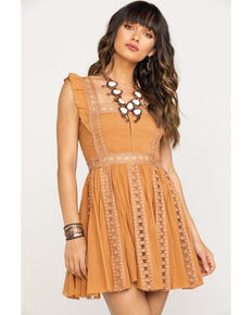 Free People Women's Verona Dress, Taupe, hi-res