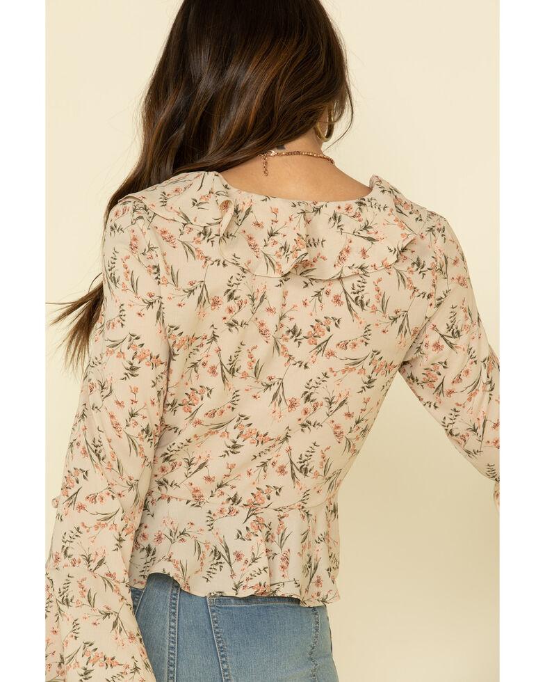 Very J Women's Floral Print Ruffle Bell Sleeve Peasant Top , Ivory, hi-res