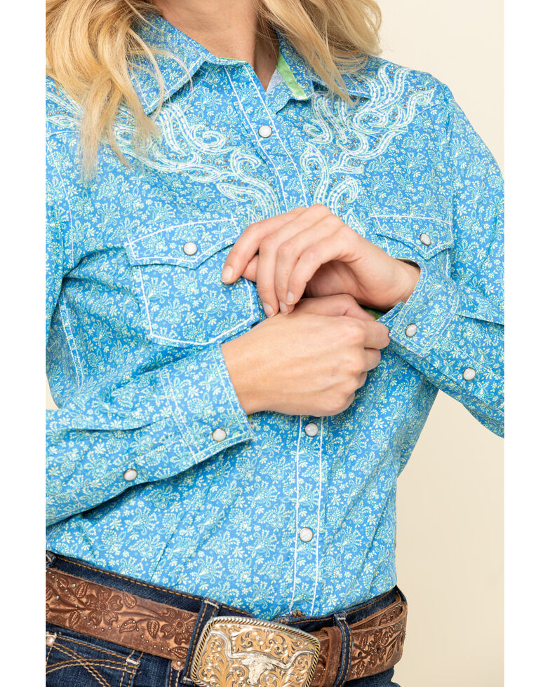 Rough Stock by Panhandle Women's Blue Rummey Vintage Long Sleeve Western Shirt , Blue, hi-res