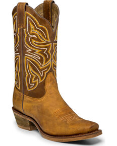 Nocona Women's Leather Tan Cowgirl Boots - Square Toe, Tan, hi-res