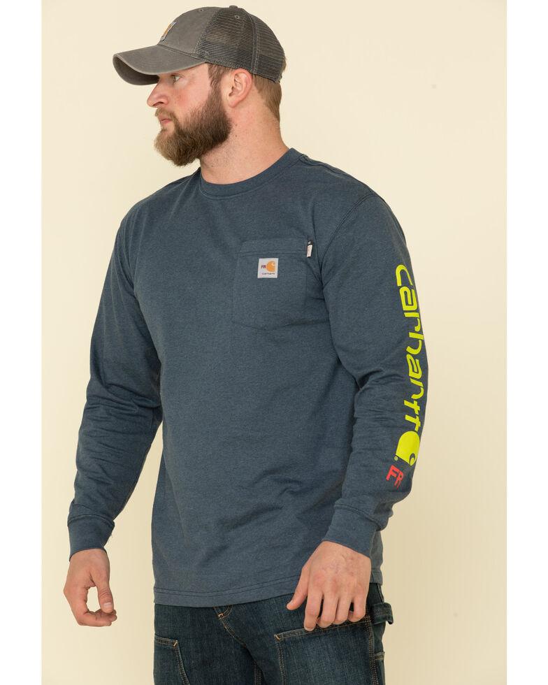 Carhartt Men's Dark Blue M-FR Midweight Signature Logo Long Sleeve Work Shirt - Big , Dark Blue, hi-res