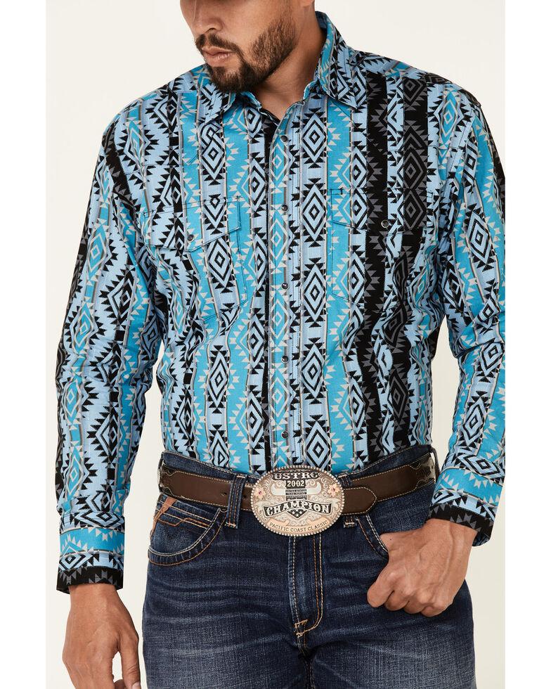 Wrangler Men's Blue Checotah Aztec Print Long Sleeve Snap Western Shirt , Blue, hi-res
